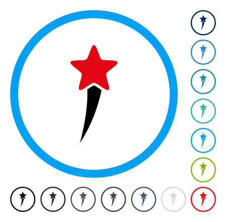 Starting Star icon inside circle frame. Vector illustration style is a flat iconic symbol in some color versions.