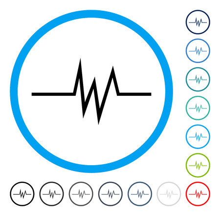 Pulse Signal icon inside circle frame. Vector illustration style is a flat iconic symbol in some color versions.