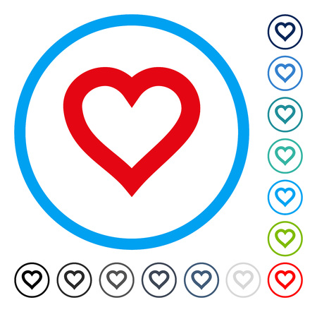 Valentine Heart icon inside round frame. Vector illustration style is a flat iconic symbol in some color versions. Illustration