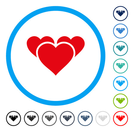 Valentine Hearts icon inside round frame. Vector illustration style is a flat iconic symbol in some color versions.