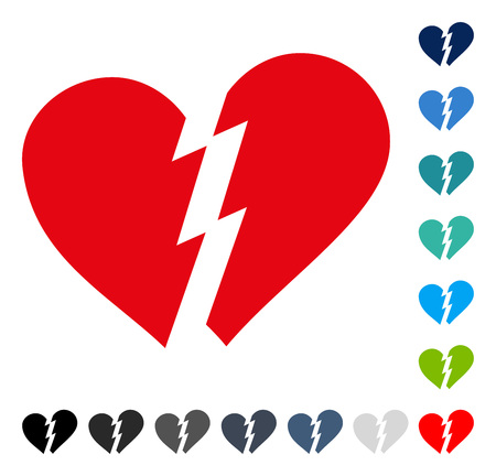 Broken Heart icon. Vector illustration style is a flat iconic symbol in some color versions. Vetores