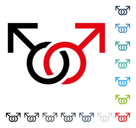 ゲイの愛のシンボル アイコン。ベクトル図のスタイルは、いくつかの色のバージョンでフラットに象徴的なシンボルです。