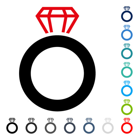 Gem Ring icon. Vector illustration style is a flat iconic symbol in some color versions. Illustration