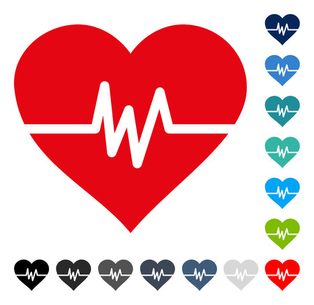 Heart Pulse icon. Vector illustration style is a flat iconic symbol in some color versions.