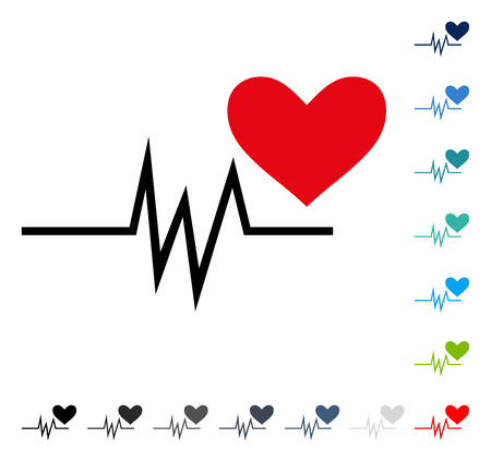 Heart Pulse Signal icon. Vector illustration style is a flat iconic symbol in some color versions. Illustration