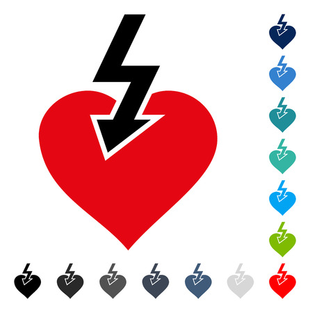 Heart Shock Strike icon. Vector illustration style is a flat iconic symbol in some color versions.