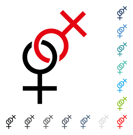 Lesbian Love Symbol icon. Vector illustration style is a flat iconic symbol in some color versions.