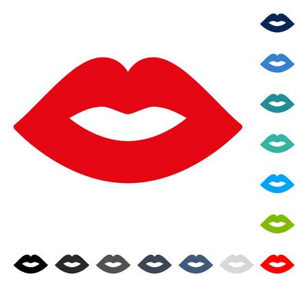 Icono de labios. El estilo de ilustración vectorial es un símbolo icónico plano en algunas versiones de color. Foto de archivo - 83370323