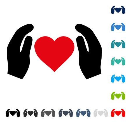 Icono de manos de amor cuidado. El estilo de ilustración vectorial es un símbolo icónico plano en algunas versiones de color.