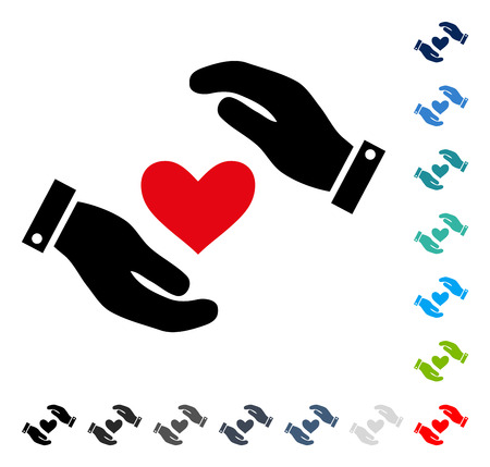 Love Heart Care Hands icon. Vector illustration style is a flat iconic symbol in some color versions.