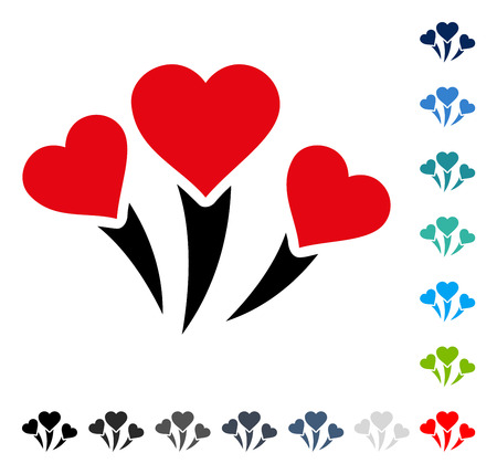 Love Heart Fireworks icon. Vector illustration style is a flat iconic symbol in some color versions.