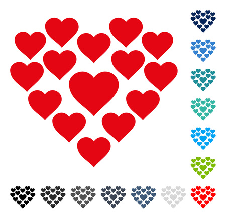 Love Hearts Shape icon. Vector illustration style is a flat iconic symbol in some color versions. Illustration