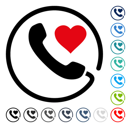 hotline: Love Phone icon. Vector illustration style is a flat iconic symbol in some color versions.