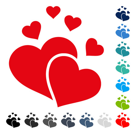 Lovely Hearts icon. Vector illustration style is a flat iconic symbol in some color versions.