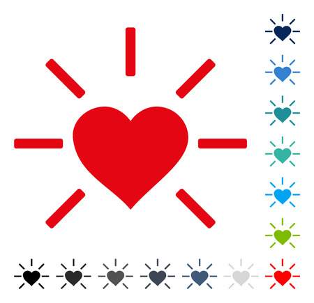 Shiny Love Heart icon. Vector illustration style is a flat iconic symbol in some color versions. Illustration