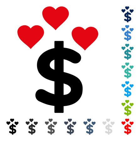 Lovely Dollar icon. Vector illustration style is a flat iconic symbol in some color versions. Illustration