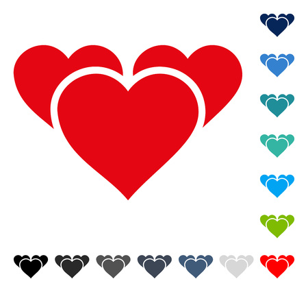 Valentine Hearts icon. Vector illustration style is a flat iconic symbol in some color versions.