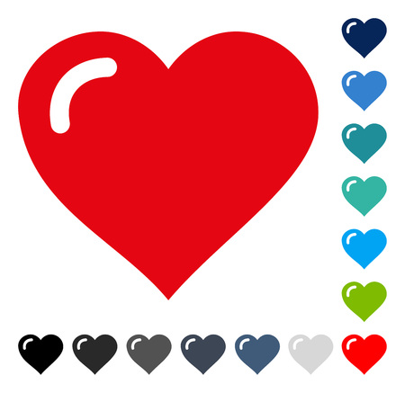 Love Heart icon. Vector illustration style is a flat iconic symbol in some color versions.