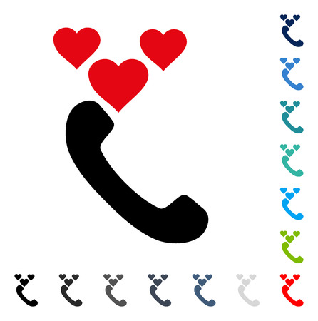 hotline: Love Phone Call icon. Vector illustration style is a flat iconic symbol in some color versions.