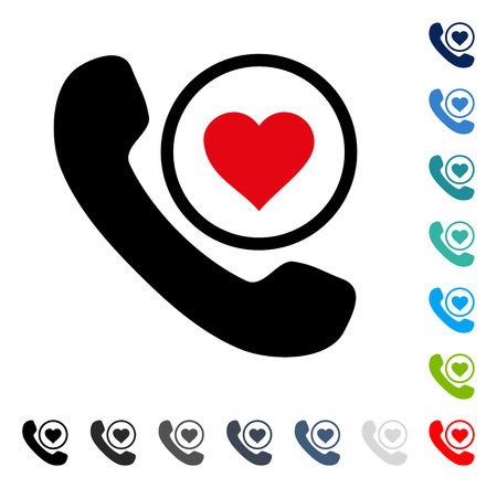 Love Phone Call icon. Vector illustration style is a flat iconic symbol in some color versions.
