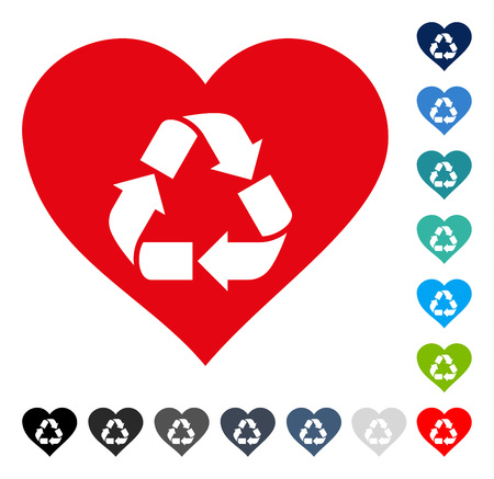 Love Recycle icon. Vector illustration style is a flat iconic symbol in some color versions.