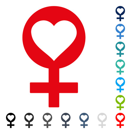 Woman Love Symbol icon. Vector illustration style is a flat iconic symbol in some color versions. Illustration