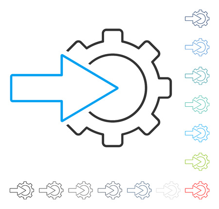 setup: Cog Integration contour icon. Vector illustration style is a flat iconic stroke symbol in some color versions.