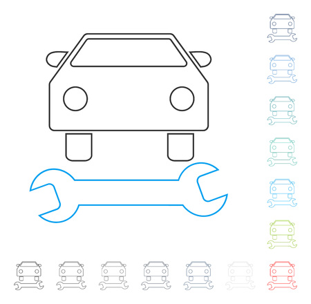 automotive industry: Car Repair stroke icon. Vector illustration style is a flat iconic line symbol in some color versions.