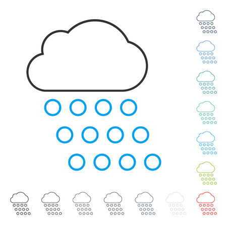 rainy season: Rain Cloud stroke icon. Vector illustration style is a flat iconic line symbol in some color versions. Illustration