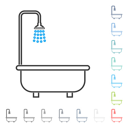 toilet: Shower Bath stroke icon. Vector illustration style is a flat iconic line symbol in some color versions. Illustration