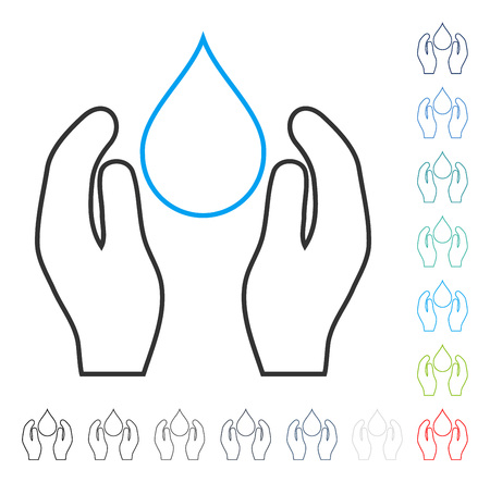 Water Care contour icon. Vector illustration style is a flat iconic line symbol in some color versions.