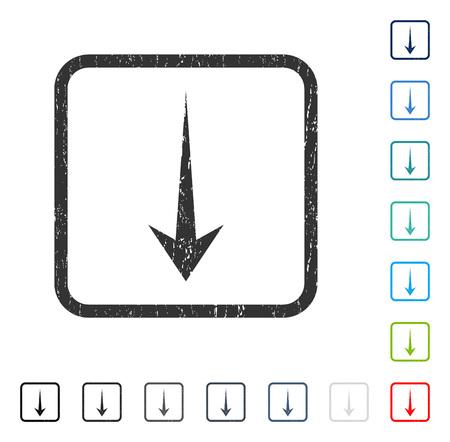 Marca de agua de goma Arrow Down en algunas versiones de color. Ilustración de vector
