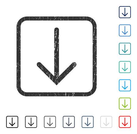 Flecha abajo marca de agua de goma en algunas versiones de color ... Símbolo de pictograma de vector dentro de marco rectangular redondeado con diseño grunge y textura rayada. Ilustración de sello de sello, signo sucio.