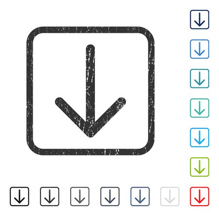 Arrow Down rubber watermark in some color versions.. Vector icon symbol inside rounded rectangular frame with grunge design and scratched texture. Stamp seal illustration, unclean sign. Illustration