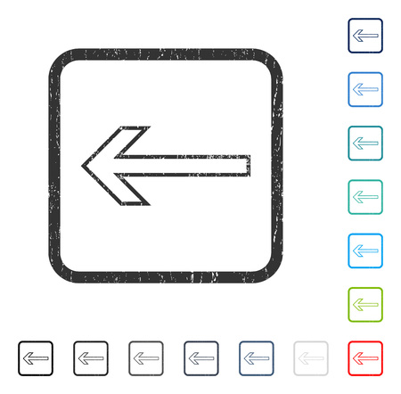 Arrow Left rubber watermark in some color versions.. Vector pictogram symbol inside rounded rectangular frame with grunge design and unclean texture. Stamp seal illustration, unclean sign.