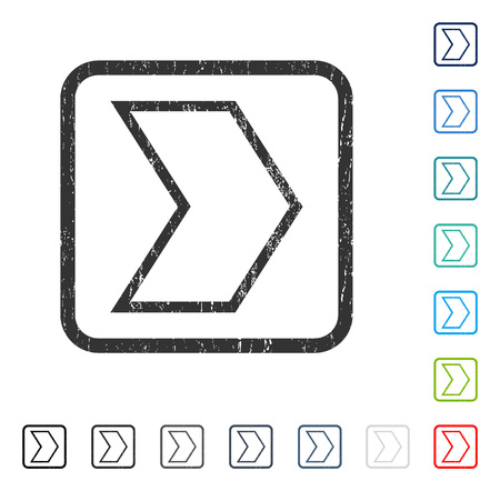 Arrowhead Right rubber watermark in some color versions.. Vector pictogram symbol inside rounded rectangle with grunge design and dust texture. Stamp seal illustration, unclean sign. Illustration