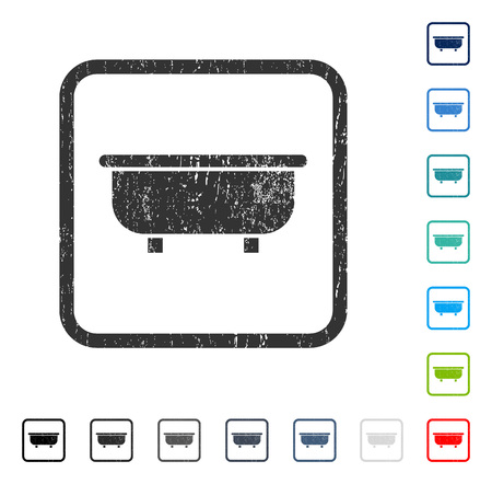 Bathtub rubber watermark in some color versions.. Vector icon symbol inside rounded rectangular frame with grunge design and scratched texture. Stamp seal illustration, unclean sign.