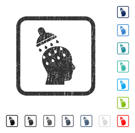 persuasion: Brain Washing rubber watermark in some color versions.. Vector pictogram symbol inside rounded rectangular frame with grunge design and dirty texture. Stamp seal illustration, unclean emblem.