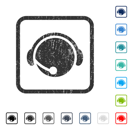 hotline: Call Center Operator rubber watermark in some color versions.. Vector icon symbol inside rounded rectangle with grunge design and unclean texture. Stamp seal illustration, unclean sign.