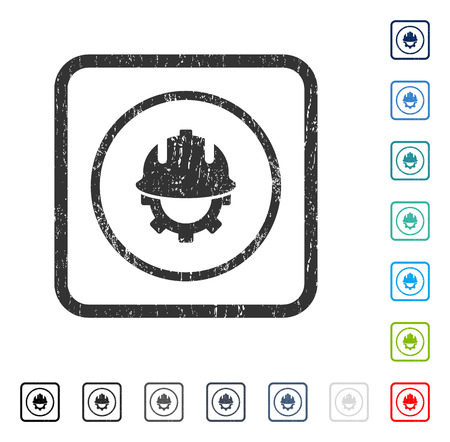Development Helmet rubber watermark in some color versions.. Vector pictogram symbol inside rounded rectangle with grunge design and dust texture. Stamp seal illustration, unclean sign.