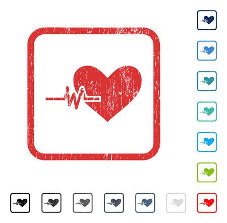 Heart Pulse rubber watermark in some color versions.. Vector pictogram symbol inside rounded rectangular frame with grunge design and dust texture. Stamp seal illustration, unclean sticker.