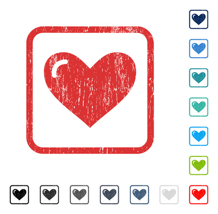 Love Heart rubber watermark in some color versions.. Vector icon symbol inside rounded rectangular frame with grunge design and dirty texture. Stamp seal illustration, unclean sign.