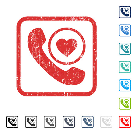 hotline: Love Phone Call rubber watermark in some color versions.. Vector pictogram symbol inside rounded rectangle with grunge design and scratched texture. Stamp seal illustration, unclean sticker. Illustration