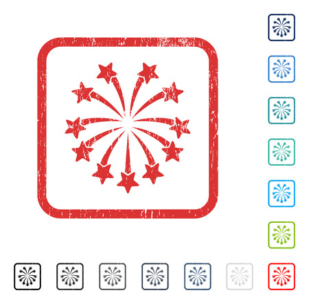 Spherical Fireworks rubber watermark in some color versions.. Vector pictogram symbol inside rounded rectangle with grunge design and dirty texture. Stamp seal illustration, unclean emblem.