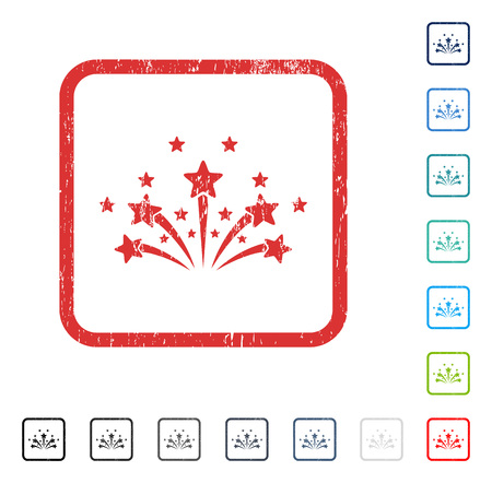 Star Fireworks rubber watermark in some color versions.. Vector pictogram symbol inside rounded rectangle with grunge design and scratched texture. Stamp seal illustration, unclean emblem.