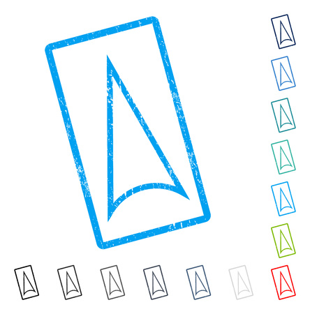 shift: Arrowhead Up rubber watermark in some color versions.. Vector pictogram symbol inside rounded rectangle with grunge design and dust texture. Stamp seal illustration, unclean sign. Illustration
