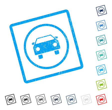 Car rubber watermark in some color versions.. Vector icon symbol inside rounded rectangular frame with grunge design and unclean texture. Stamp seal illustration, unclean sticker. Illustration