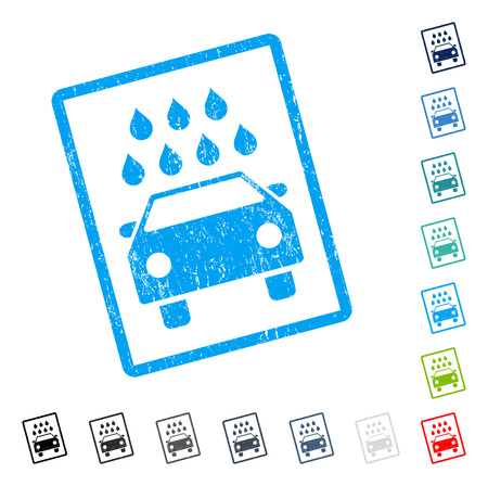 Car Shower rubber watermark in some color versions.. Vector pictogram symbol inside rounded rectangular frame with grunge design and scratched texture. Stamp seal illustration, unclean sticker.