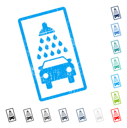 Car Shower rubber watermark in some color versions.. Vector pictogram symbol inside rounded rectangular frame with grunge design and dust texture. Stamp seal illustration, unclean emblem.