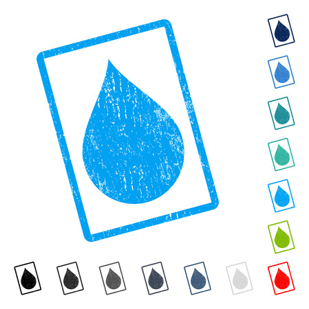Drop rubber watermark in some color versions.. Vector icon symbol inside rounded rectangular frame with grunge design and dust texture. Stamp seal illustration, unclean emblem. Иллюстрация